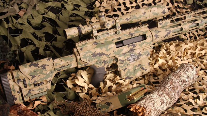 Bushmaster BA50, sniper rifle, carbine, scope, ammunition, camo, MIL-STD-1913, .50 BMG (horizontal)