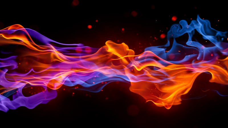 fire, 4k, 5k wallpaper, blue, red, violet, background (horizontal)