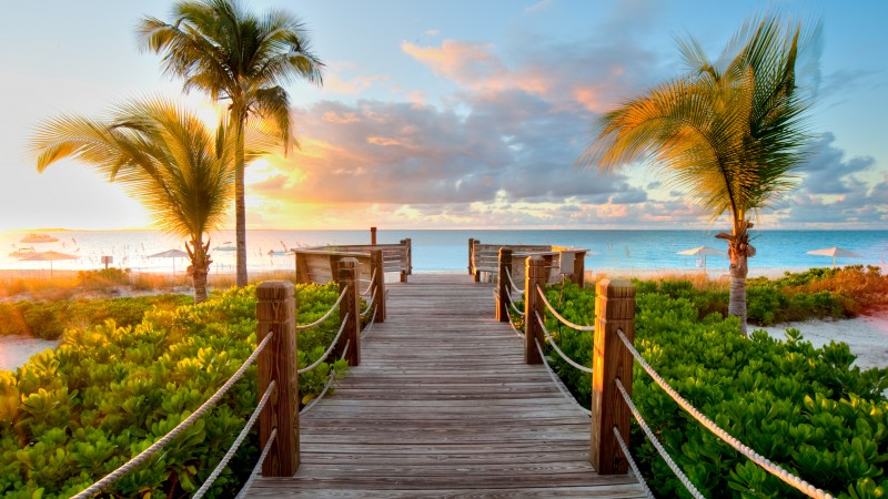 Turks and Caicos Islands, 5k, 4k wallpaper, Best beaches of 2017, tourism, resort, vacation, travel, clouds, sky, sea, ocean, palms (horizontal)