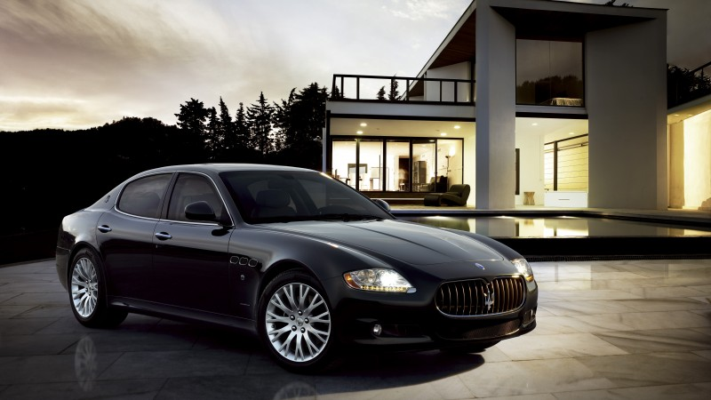Maserati Quattroporte, supercar, luxury cars, sports car, front, review, test drive, black (horizontal)
