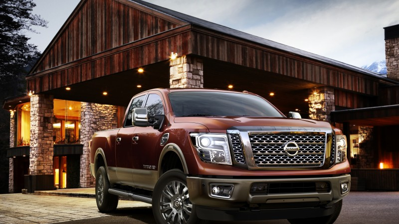 Nissan Titan, XD, 2015 cars, Detroit, SUV, hybrid, ecosafe, review, test drive, front, red (horizontal)
