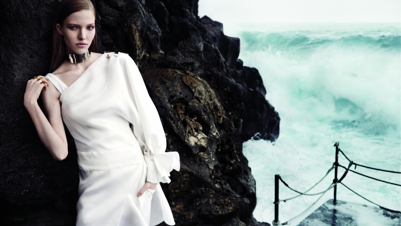 Sasha Luss, Top Fashion Models 2015, model, beach, white dress, sea, ocean,  (horizontal)