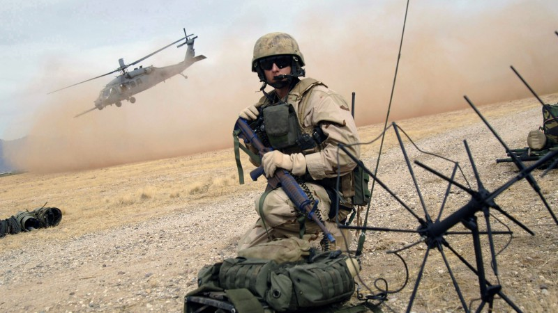 U.S. Air Force, soldier, assault rifle, rescue mission, helicopter landing (horizontal)