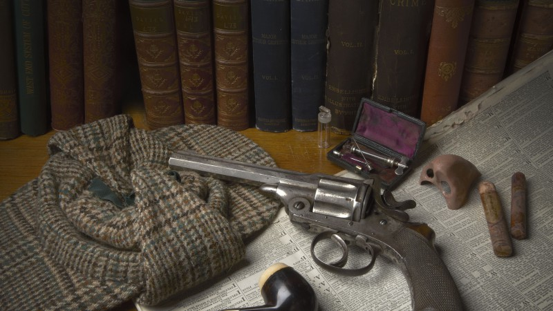 antique revolver, classic pistol, books, bullets, gunpowder (horizontal)