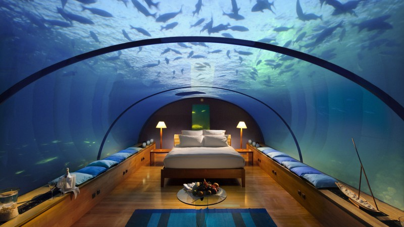 Conrad Maldives Rangali Island Hotel, Best Hotels of 2015, tourism, travel, resort, vacation, Underwater Hotel Room, aquarium, bed, fish, booking (horizontal)