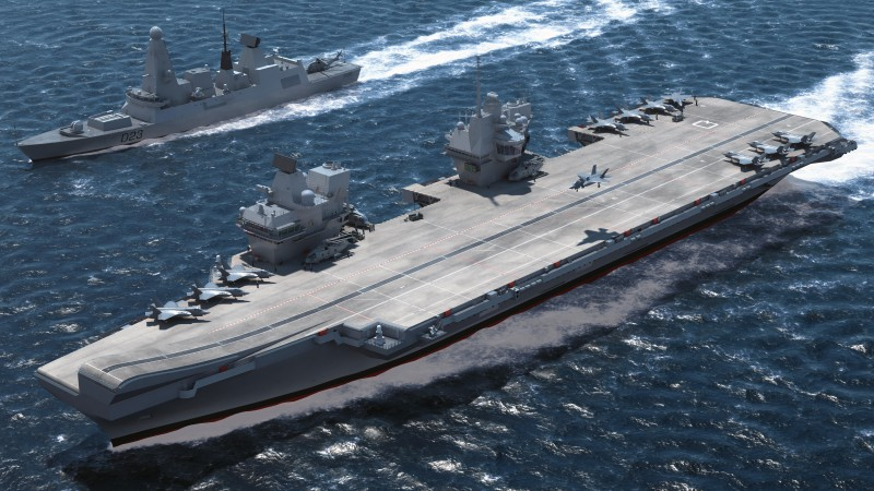 HMS Queen Elizabeth, lead ship, aircraft carrier, Royal Navy, English Armed Forces (horizontal)