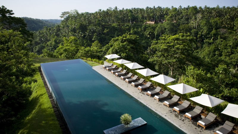 Alila Ubud, Bali, Indonesia, The best hotel pools 2017, tourism, travel, resort, vacation, pool, sunbed, forest (horizontal)