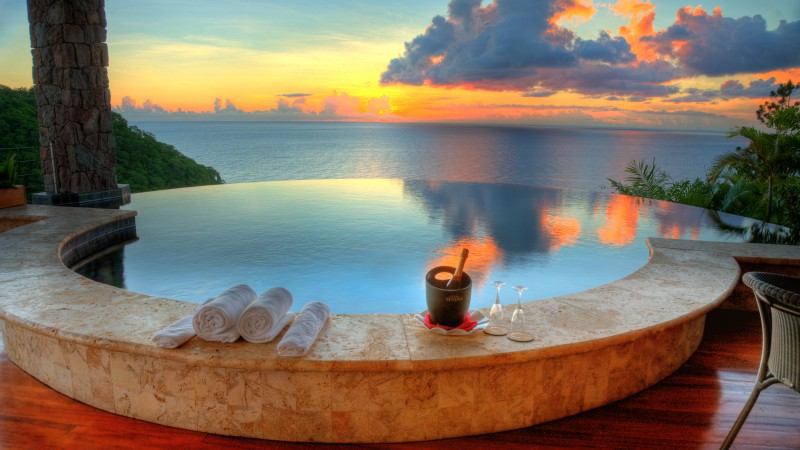 Jade Mountain Resort, Saint Lucia, The best hotel pools 2017, tourism, travel, resort, vacation, pool, ocean, sunset, sunrise, sky, clouds (horizontal)
