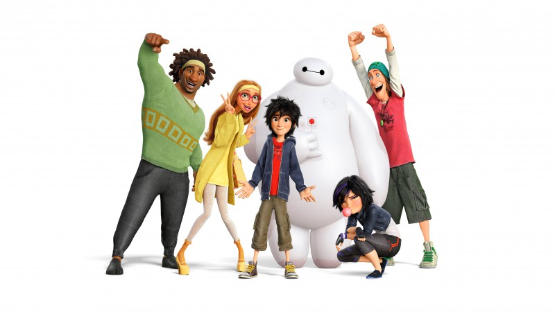Big Hero 6, names, Baymax, Hiro, Wasabi, Honey Lemon, Fred, Gogo Tomago, Best Animation Movies of 2015 (horizontal)