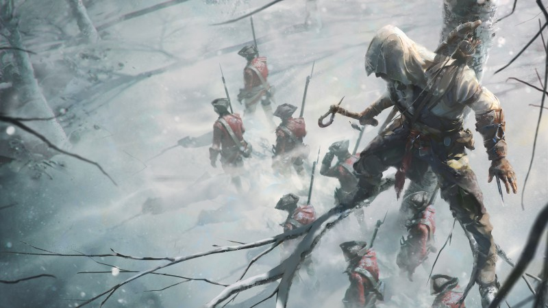 Assassin's Creed III, author artwork, snow, tree, forest, stealth action game, art (horizontal)