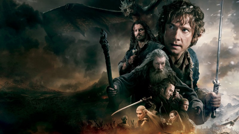 Hobbit, The Battle Of The Five Armies, movie, fantasy, dragon, fire, sword, mage, Gandalf, battle (horizontal)