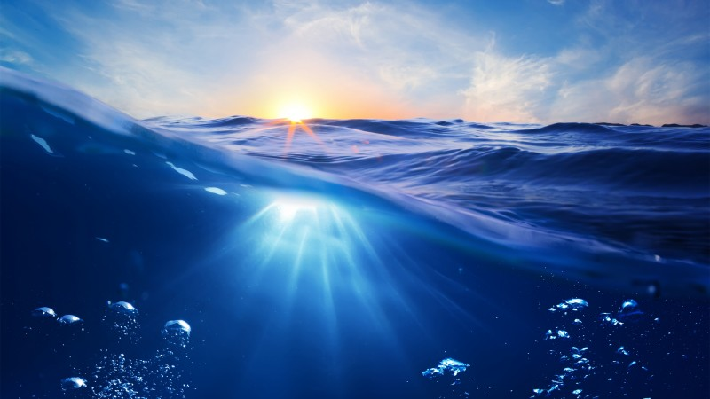 Ocean, 5k, 4k wallpaper, 8k, Sea, nature, underwater, water, sun, sky, blue, rays (horizontal)