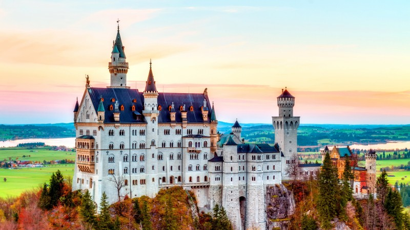 Castle, Neuschwanstein, alps, Autumn, bavaria, Germany, Mountain, sky, travel (horizontal)