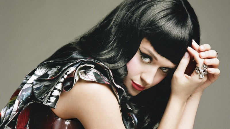 Katy Perry, artists, music, brunette, red lips, jewel, portrait (horizontal)