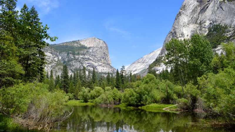 Yosemite, 5k, 4k wallpaper, 8k, forest, OSX, apple, mountains, lake (horizontal)