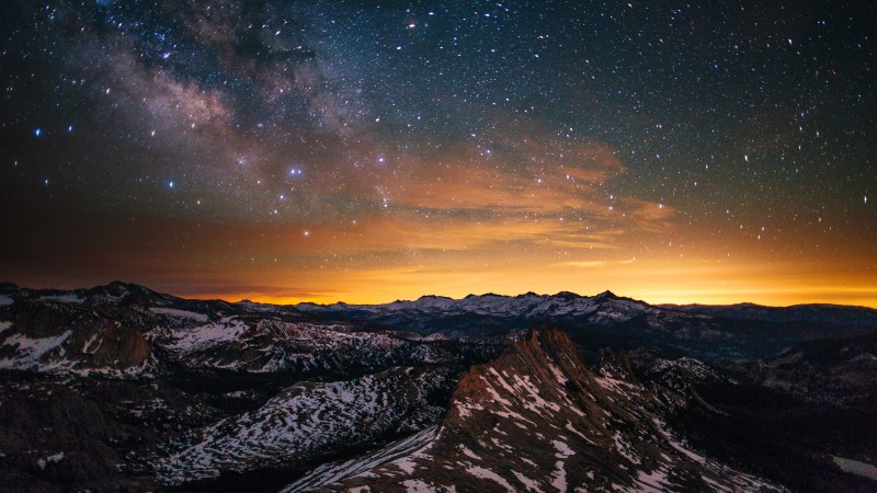 Yosemite, 5k, 4k wallpaper, 8k, forest, stars, sunset, OSX, apple, mountains (horizontal)