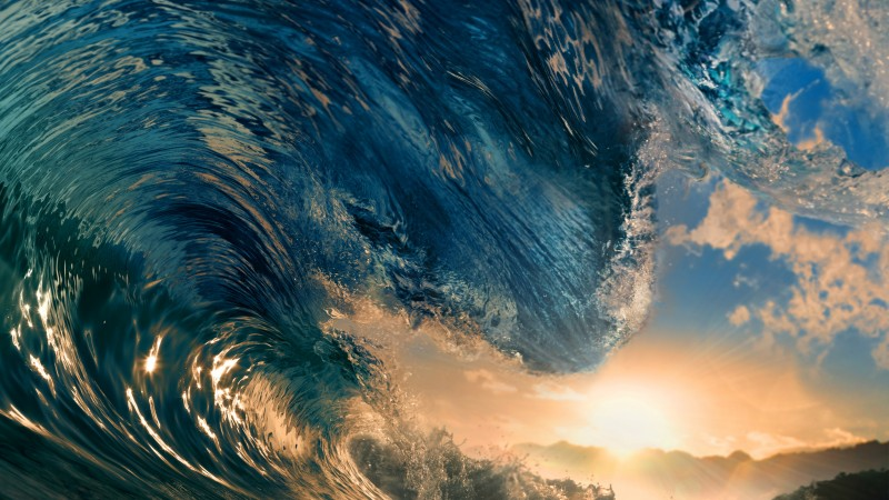 Sea, 5k, 4k wallpaper, ocean, water, wave, sunset, sky, rays, sun, blue (horizontal)
