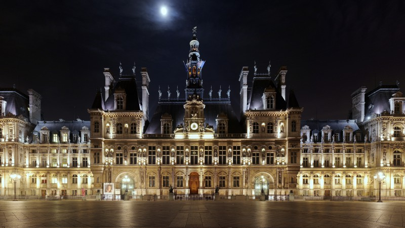 Hotel De ville, hotel, place, night, light, moon, beautiful, castle, square, architecture, exterior (horizontal)