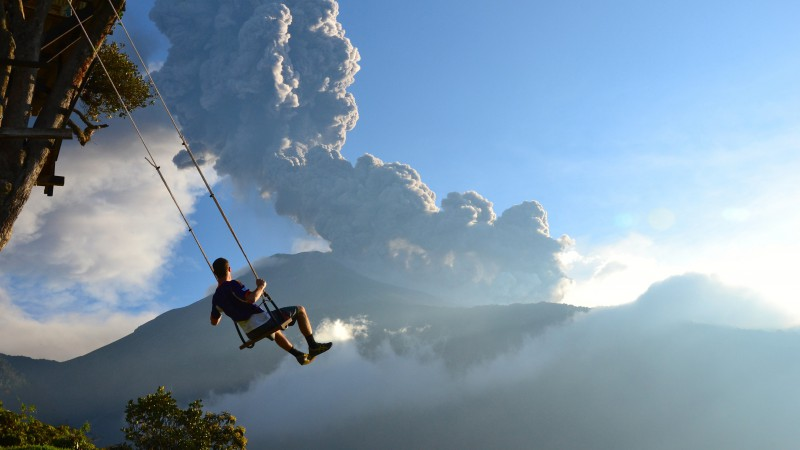 End of the World, 5k, 4k wallpaper, Volcano, swing, man, National Geographics (horizontal)