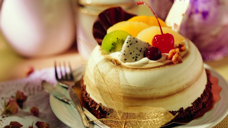 Cake, souffle, fruits, cherry, chocolate (horizontal)