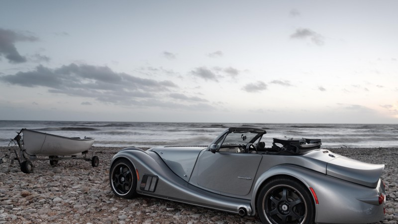 morgan aero 8, convertible, front-engined Sports car, grey. (horizontal)