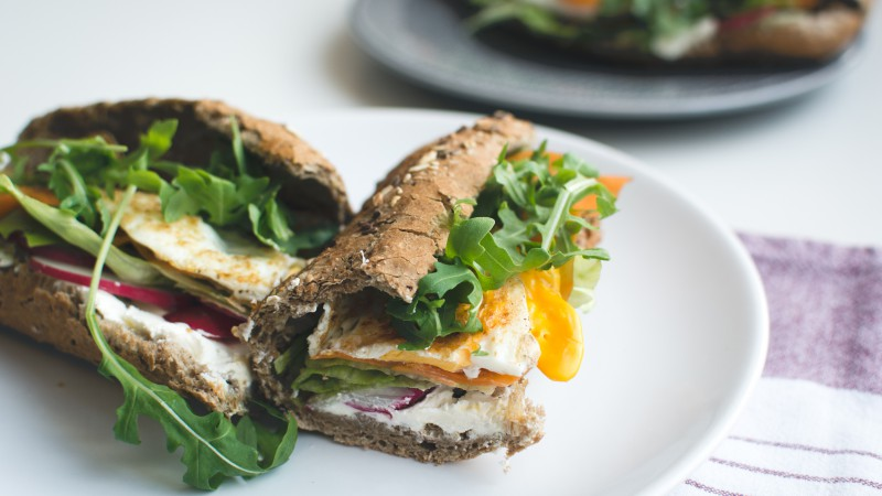 Baguette, radishes, vegetables, sandwich (horizontal)
