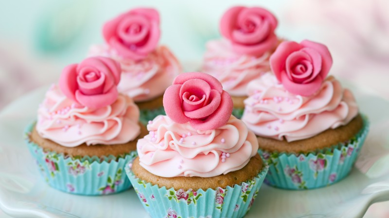 muffins, desserts, pastries, cream, powdered sugar, flowers, roses (horizontal)