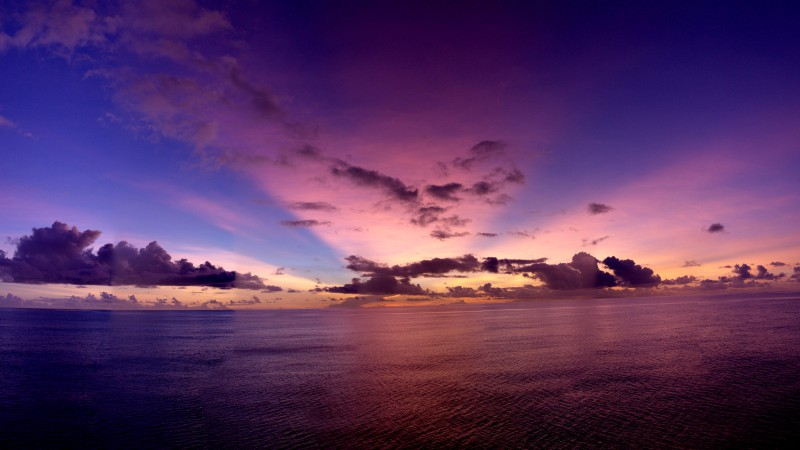 Pacific ocean, 5k, 4k wallpaper, sunset, purple, rays, clouds (horizontal)