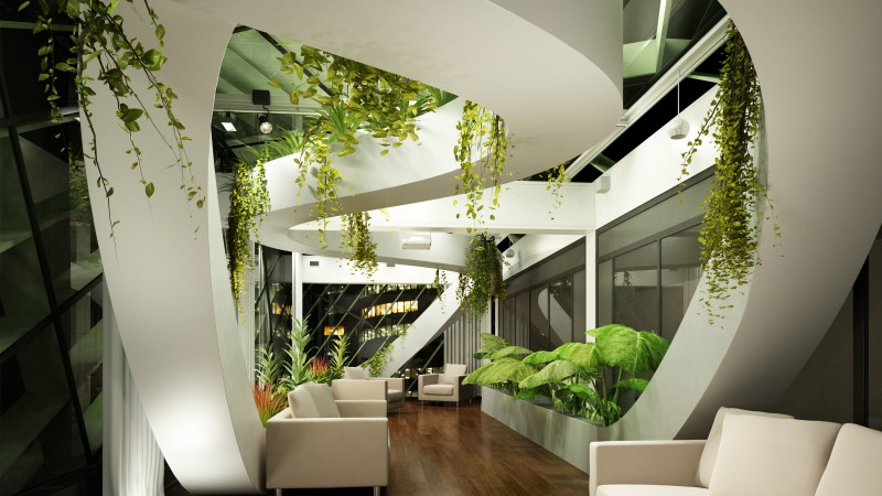 Living room, design, high-tech, modern, plants, light shades (horizontal)