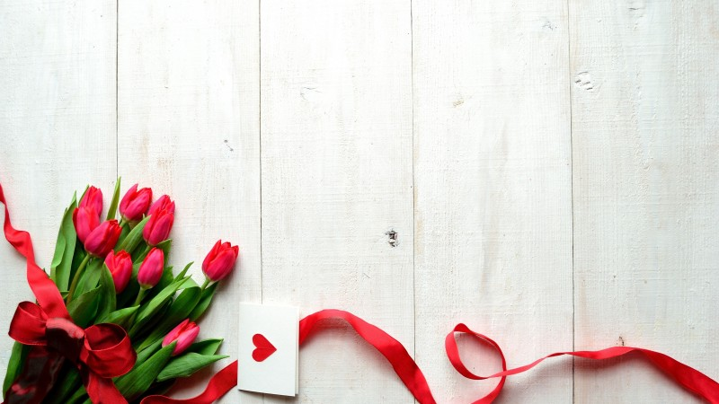 Valentine's Day, 5k, 4k wallpaper, 8k, flowers, tulips, hearts, ribbon, love (horizontal)