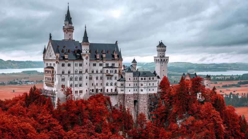 Neuschwanstein castle, Bavaria, Germany, Tourism, Travel (horizontal)