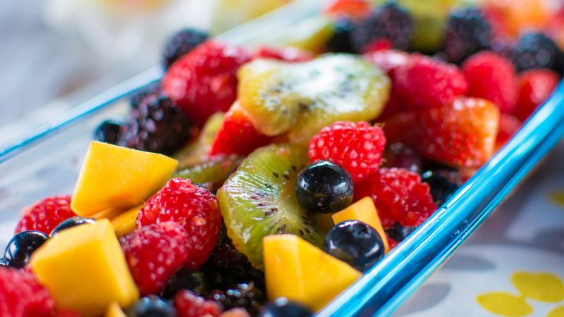 Hawaiian Fresh Fruit Salad, Raspberry, blueberry, kiwi, mango, blackberry, strawberry (horizontal)