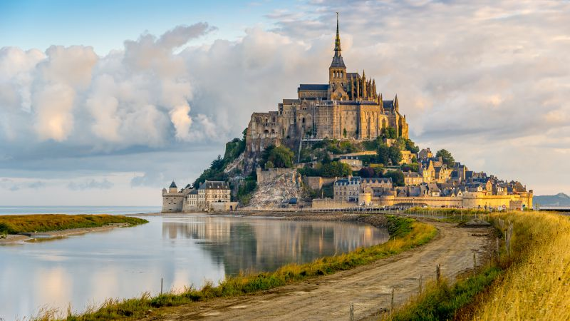 Mont Saint Michel, France, Town-Castle Tourism, Travel (horizontal)