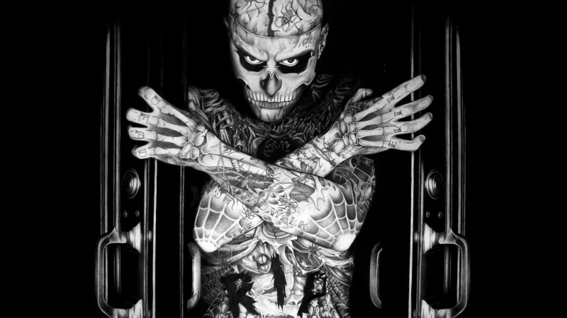 Rick Genest, Zombie Boy, model, tattoo, skeleton (horizontal)