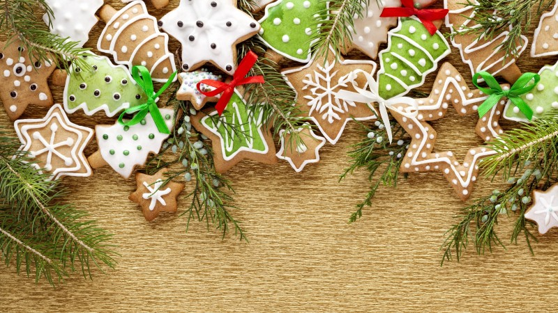 holiday cookies, christmas tree, stars, snowflakes, branch (horizontal)