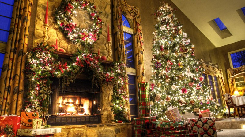 new year, fireplace, decor, fir-tree, fire, lights, room, gifts (horizontal)