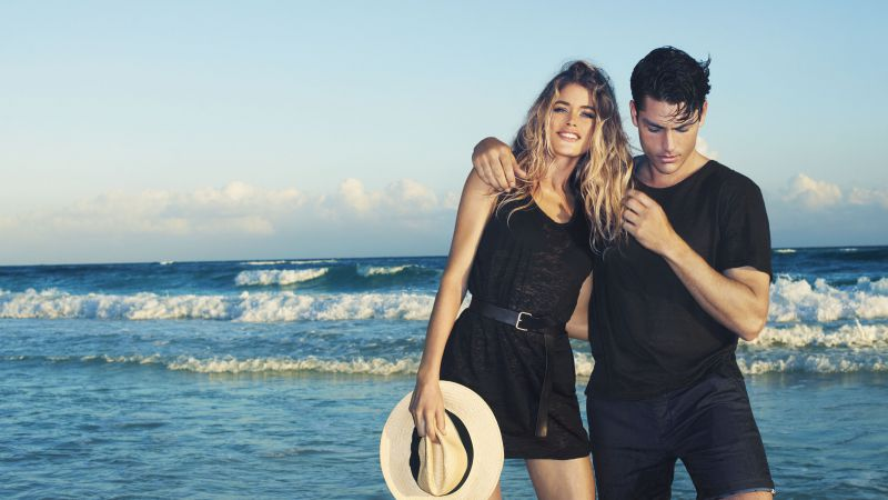 Doutzen Kroes, Tyson Ballou, Top Fashion Models, model, actor, beach (horizontal)