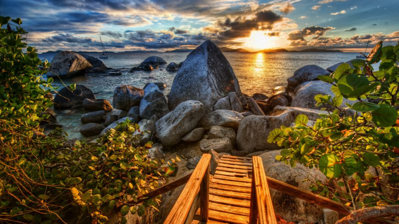 Sea, 4k, HD wallpaper, sun, sunset, stones, nature (horizontal)