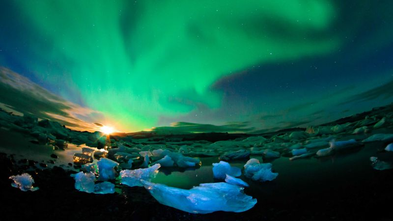 Iceland, 4k, HD wallpaper, northern lights, sky, ice (horizontal)