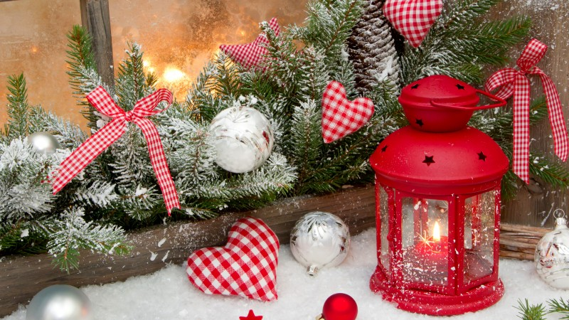 new year, christmas, decorations, balloons, stars, hearts, decoration, candle, fire, snow, winter, holidays, fir-tree (horizontal)