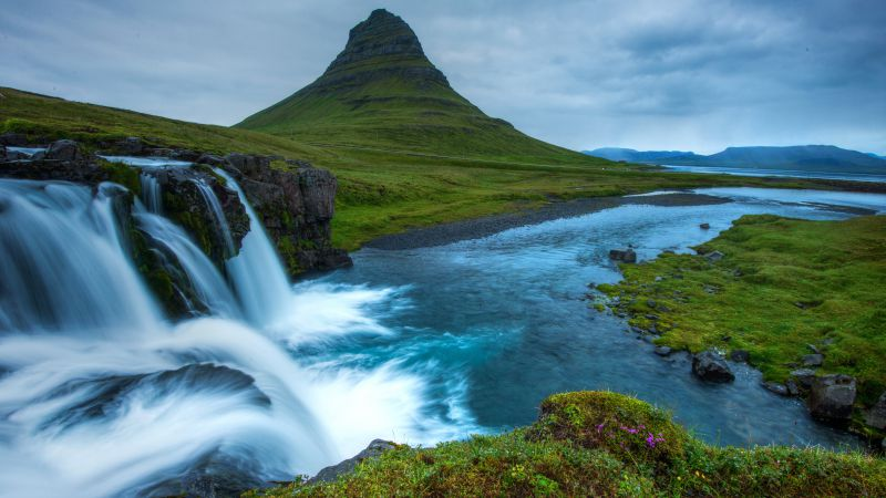 Snæfellsnes, 5k, 4k wallpaper, Iceland, waterfall, hills, river,  (horizontal)