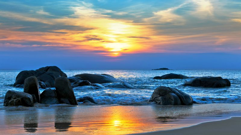 Sea, 5k, 4k wallpaper, 8k, Pacific ocean, Best Beaches in the World, shore, stones, sunset (horizontal)