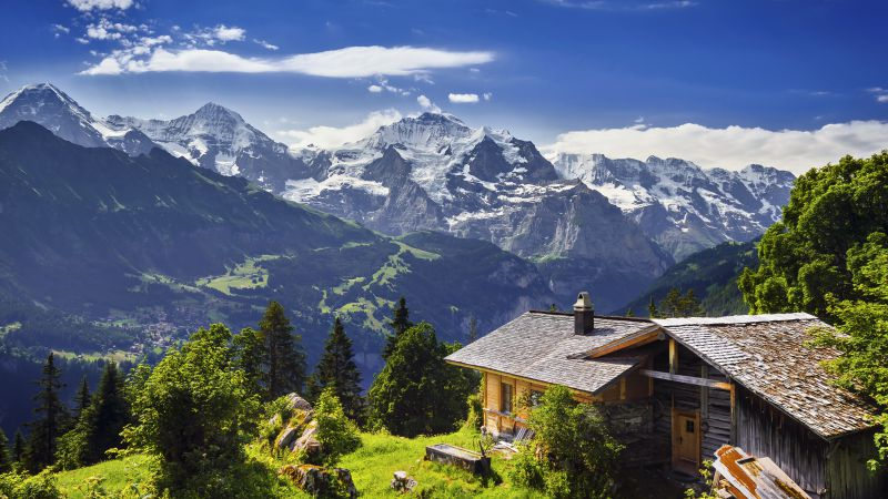 Switzerland, 5k, 4k wallpaper, 8k, mountains, sky, house (horizontal)