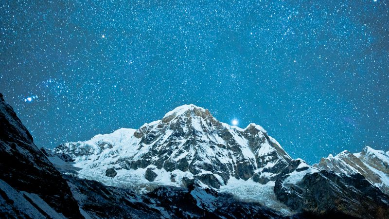 Nepal, 5k, 4k wallpaper, Himalayas, night, stars (horizontal)