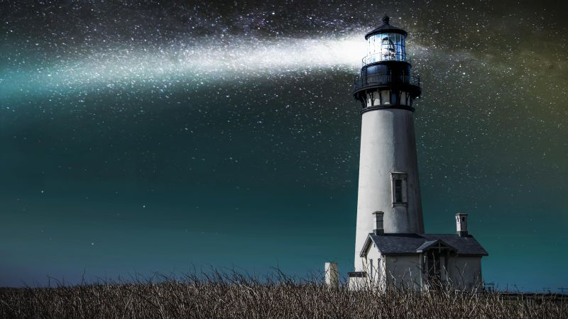 Lighthouse, 5k, 4k wallpaper, 8k, meadows, night, stars (horizontal)