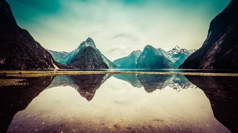 New Zealand, 5k, 4k wallpaper, milford, mountains, river, lake (horizontal)