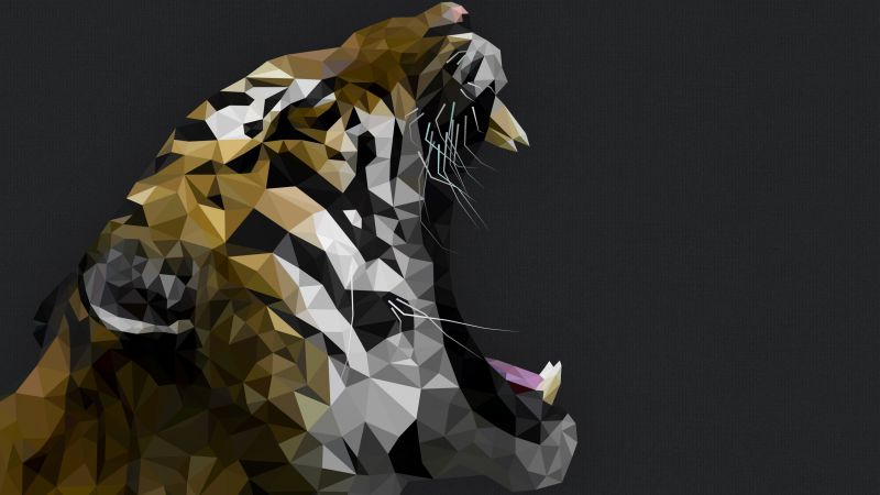 Tiger, Polygon, roar, art (horizontal)