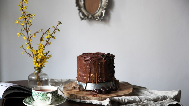 cake, chocolate, cherries, raisins (horizontal)