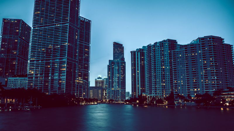 Miami, skyscrapers, night, cityscapes, tourism, travel (horizontal)