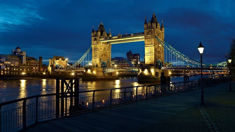 London, bridge, UK, night, river, travel, tourism (horizontal)